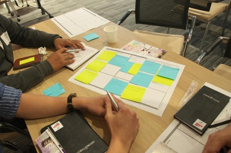 Workshop particpants using the Red Ochre social business model canvas