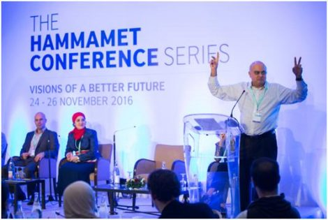 Uday gives a rousing speech to the Hammamet conference
